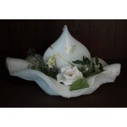 Handgemaakte Huwelijkskaars met ondergrond, kleur wit