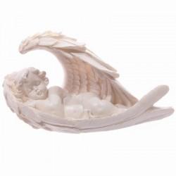 Witte Cherubijn,slapend in engel vleugels