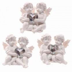 Witte Cherubijn,  zilverkleurig hartvormig edelsteentje